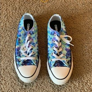 Blue and purple patterned converse all stars